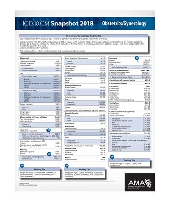 Picture of ICD-10 Snapshot  2018 Coding Card Obstetrics/Gynecology