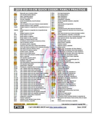 Picture of 2018 ICD-10-CM QUICK CODER CARD/FAMILY PRACTICE