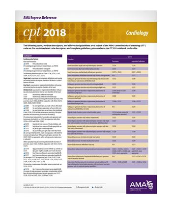 Picture of CPT 2018 Express Reference Coding Card: Cardiology