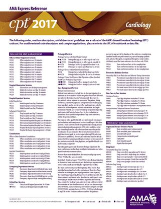 Picture of CPT 2017 Express Reference Coding Card: Cardiology