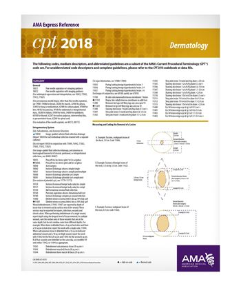 Picture of CPT 2018 Express Reference Coding Card: Dermatology