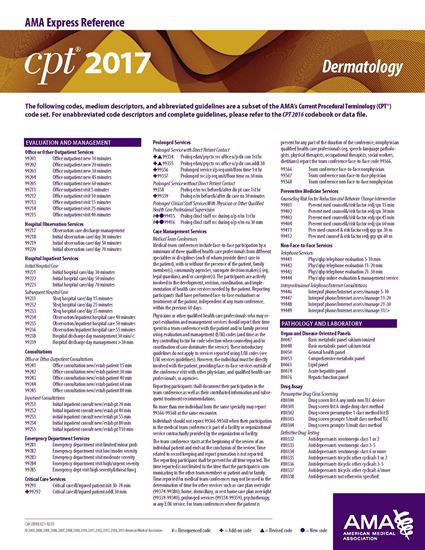 Picture of CPT 2017 Express Reference Coding Card: Dermatology
