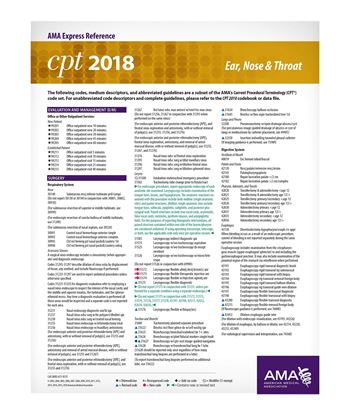 Picture of CPT 2018 Express Reference Coding Card: Ear, Nose & Throat