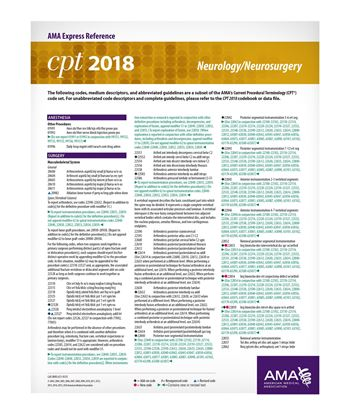 Picture of CPT 2018 Express Reference Coding Card: Neurology/Neurosurgery