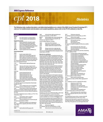 Picture of CPT 2018 Express Reference Coding Card: Obstetrics