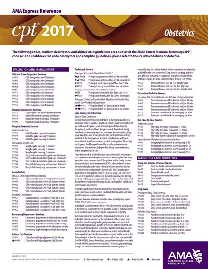 Picture of CPT 2017 Express Reference Coding Card: Obstetrics