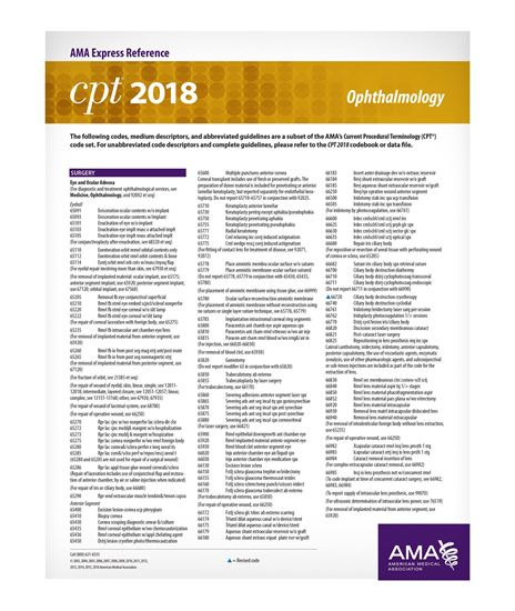 Picture of CPT 2018 Express Reference Coding Card: Ophthalmology