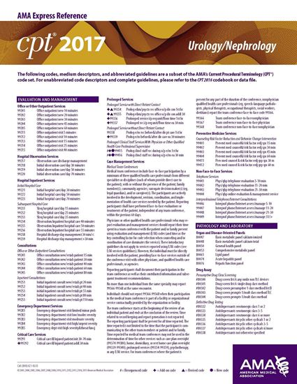 Picture of CPT 2017 Express Reference Coding Card: Urology/Nephrology