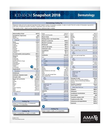 Picture of ICD-10 Snapshot  2018 Coding Card: Dermatology