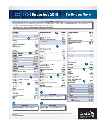 Picture of ICD-10 Snapshot  2018 Coding Card ENT