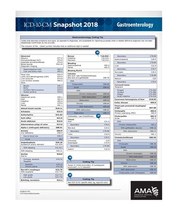 Picture of ICD-10 Snapshot  2018 Coding Card Gastroenterology