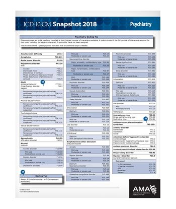 Picture of ICD-10 Snapshot  2018 Coding Card Psychiatry