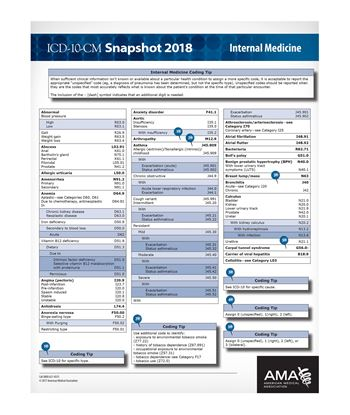 Picture of ICD-10 Snapshot  2018 Coding Card Internal Medicine