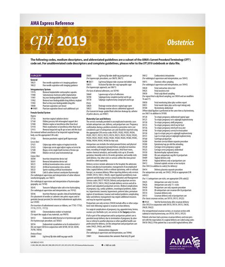 Picture of CPT 2019 Express Reference Coding Card: Obstetrics