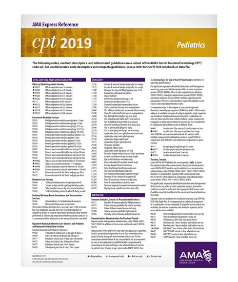 Picture of CPT 2019 Express Reference Coding Card: Pediatrics