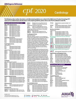 CPT 2020 Express Reference Coding Card: Cardiology