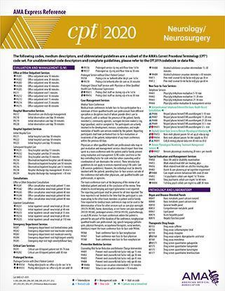 Picture of CPT 2020 Express Reference Coding Card: Neurology/Neurosurgery