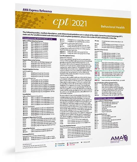 Picture of CPT 2021 Express Reference Coding Card: Behavioral Health