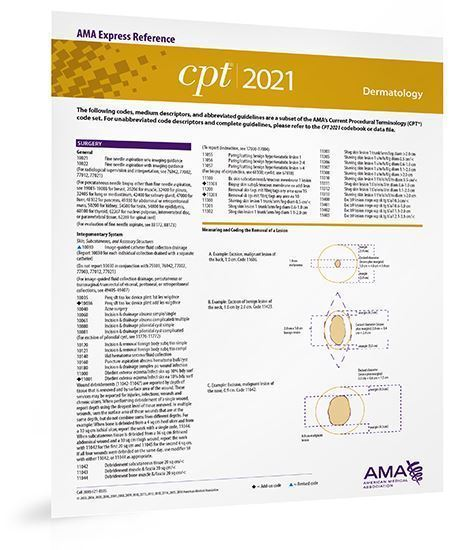 Picture of CPT 2021 Express Reference Coding Card: Dermatology