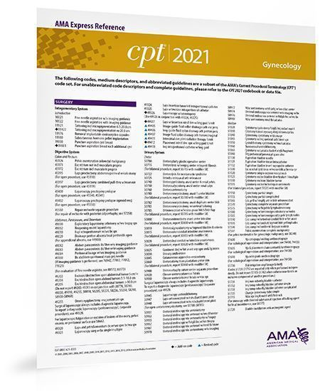 Picture of CPT 2021 Express Reference Coding Card: Gynecology