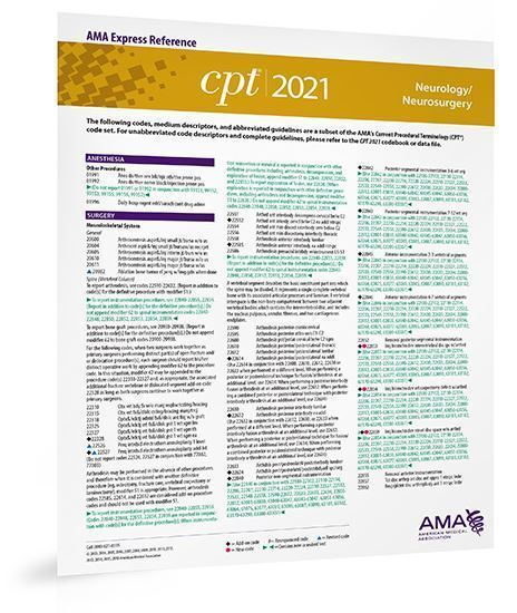 Picture of CPT 2021 Express Reference Coding Card: Neurology/Neurosurgery