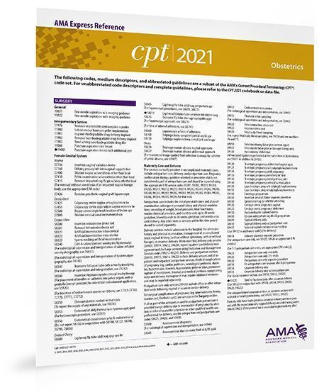 Picture of CPT 2021 Express Reference Coding Card: Obstetrics