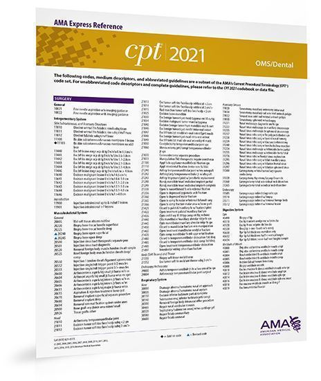 Picture of CPT 2021 Express Reference Coding Card: OMS/Dental