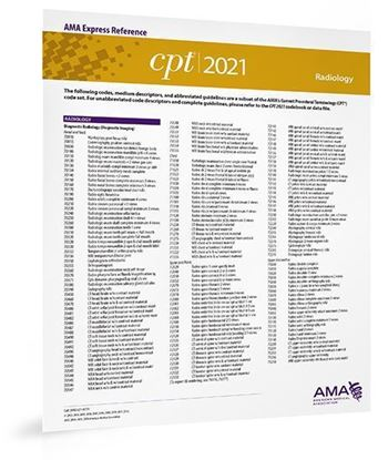 CPT 2021 Express Reference Coding Card: Radiology